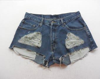"""Womens Medium Wash Distressed Denim Cut Off Mid Rise Jean Shorts Size 34"""" Waist"""