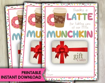 PRINTABLE Gift Card Holder - INSTANT DOWNLOAD - Thanks A Latte - Donut - Teacher Appreciation Daycare Coach - Child Minder - GC50