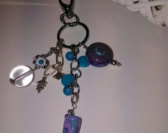 Plum and teal keychain or bag charm