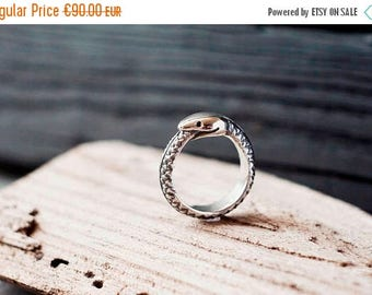 SALE 20% OFF Ouroboros ring - Serpent ring - Snake eating tail - Circle of life - Reptile ring - Ring with black gems - Alchemy ring - Anima