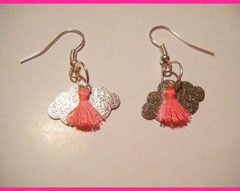 Earrings silver clouds and Pompon ♥ ♥