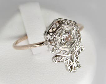white gold diamond ring, art deco diamond ring, antique engagement ring, art deco hexagon ring, diamond flower ring, rose cut diamond ring