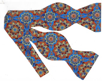 Kaleidoscope Flowers Self-tie Bow Tie | Blue bow ties | Red flowers | Flower bow ties | Wedding bow ties | bow ties for men | Metallic Gold