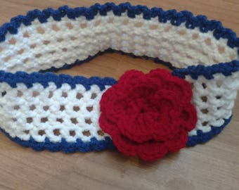 Crochet toddler head band, red, white and blue