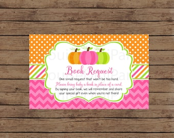 Printable Fall Autumn Thanksgiving Pumpkin Pink and Orange Baby Shower Book Request, JPEG 300DPI, 4x2.5 inches for Personal Use