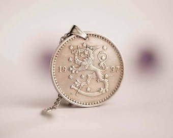Finland Coin Necklace in Silver Colour. Finnish Coin, 1 Markka, 1937. Coat of Arms, Rampant Lion