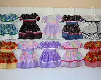 18 Inch Doll Clothes, Cotton Print Dress For Party or Play, Some OOAK. Please read the descriptions.