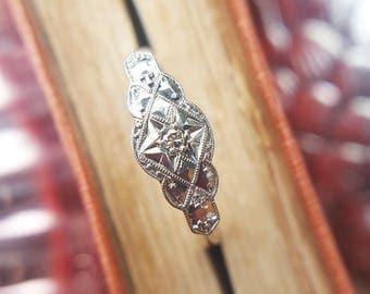 Antique Art Deco 9ct Yellow Gold, Diamond & Platinum Ring
