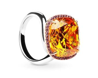Sparkling Citrine Cushion Ring