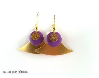 Earrings graphic gold and purple