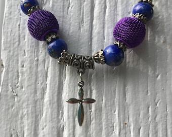 Blue & Purple Beaded Cross Necklace