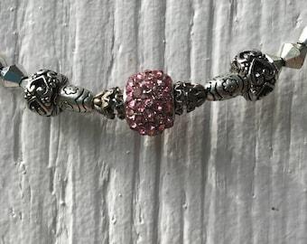 Pink & Silver Beaded Choker