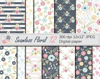 Seamless Floral Digital Paper, Pink and Yellow Flowers Seamless Pattern, Mothers Day Scrapbook Paper, Download