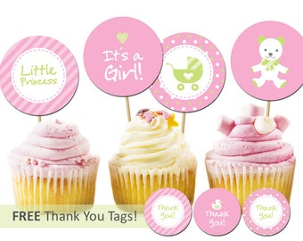 Printable Baby Girl Cupcake Topper Baby Girl Shower Party Decorations Favor Tags Duck Free Thank You Tags - instant DIGITAL DOWNLOAD