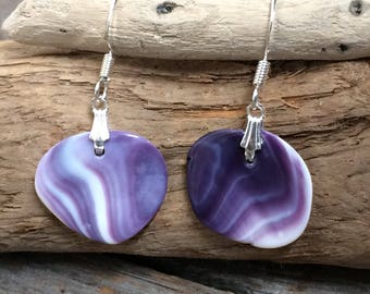 Wampum earrings, natural wampum jewelry, Native Cape Cod wampum, Genuine Handpicked Wampum shell, handmade Native American gift