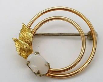 Vintage Krementz Opal and Gold Over Sterling Circle and Leaf Brooch