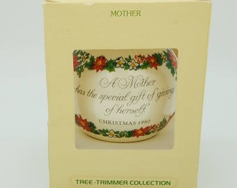 "1980 Hallmark, ""Mother,"" Satin Ball Ornament, in Original Box  - Poinsettia Design"