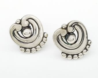 Old Mexico Sterling Silver Screw Back Earrings Signed AF