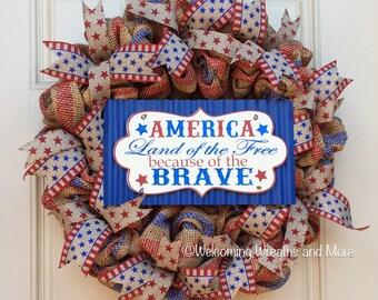 Patriotic Wreath, Patriotic Burlap Mesh Wreath, July 4th Wreath, Americana Wreath, Rustic Patriotic Wreath, Fourth of July Wreath