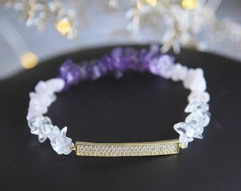 Boho Quartz Bracelet, Boho Amethyst Bracelet, Gift for Mom, Raw Crystal Bracelet, Boho Luxe Bracelet, Ombre Quartz Bracelet, Ombre Bracelet