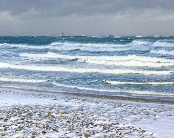 Winter beauty, beach photo, South Shore, Boston, Minot Light, ocean, surf, sea, nautical decor, cottage decor, archival, signed print