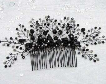 Gift|for|Christmas Bridal hair Christmas hair Black wedding Bridesmaid hair Halloween Crystal hair comb Black bridesmaid Halloween jewelry