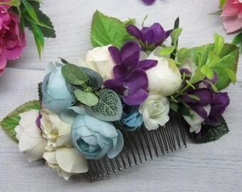 Wedding comb flower Girl gift clip hair Wedding bride comb Flower hair piece Rustic bridal comb Wedding comb rustic Blue bridal hair Boho