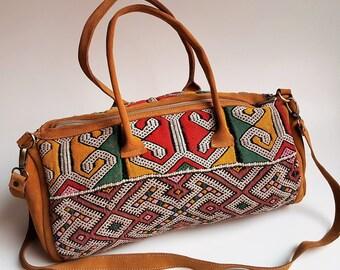 UNIQUE Vintage kilim & brown leather Boston bag , Boho Chic Women Bag , Kilim Bag, Shoulder bag