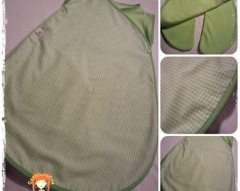 "sleeping bag/sleeping bag and blanket all in one ""Baby traveller"" green gingham"