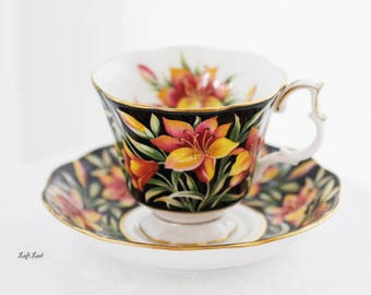 Royal Albert's Black Chintz Provincial Flowers Prairie Lily TEACUP and saucer, c1970s