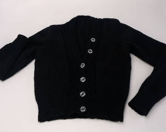 1940s Style Short Black Vee Neck Cardigan
