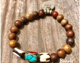 Beautiful Wood Bracelet, African Bead, Vintage Coin