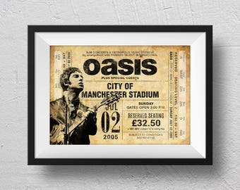 Oasis Poster, Manchester 2005, concert poster, Oasis concert, retro concert poster, Oasis souvenir, original design