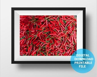 Kitchen Decor, Digital Download, Hot Red Pepper Photography, Red Pepper Print, Chili Cayenne Pepper, Prints Digital, Printable Red Pepper