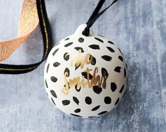 Black and Gold Dotty Personalised Family Name Bauble