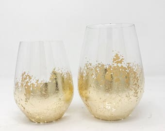 Gold Leaf Wine Glass