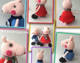 Peppa Pig - George Pig - Pig Plush - Pig Toys - Crocheted Pig Toys - Piglet