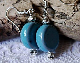 Blue earrings from ceramic beads