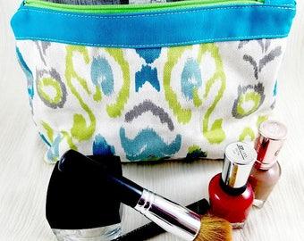 Cosmetic bag - Makeup bag - Canvas makeup bag - Large makeup bag - Zipper bag - Gift for her-Lined makeup bag - Toiletry bag