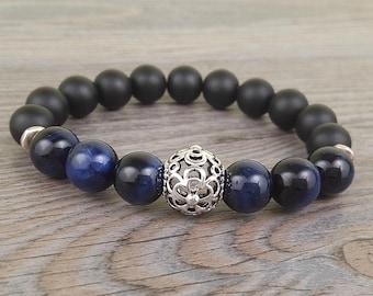 Bracelet unisexe de pierres fines oeil de tigre bleu et onyx noir 10mm