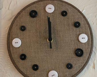 Button clock - black and white