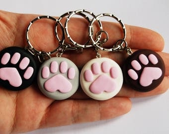 4 Keychain set Paws in fimo