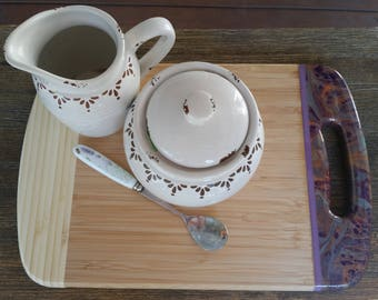 Bamboo serving platter or cheese board customised with abstract art