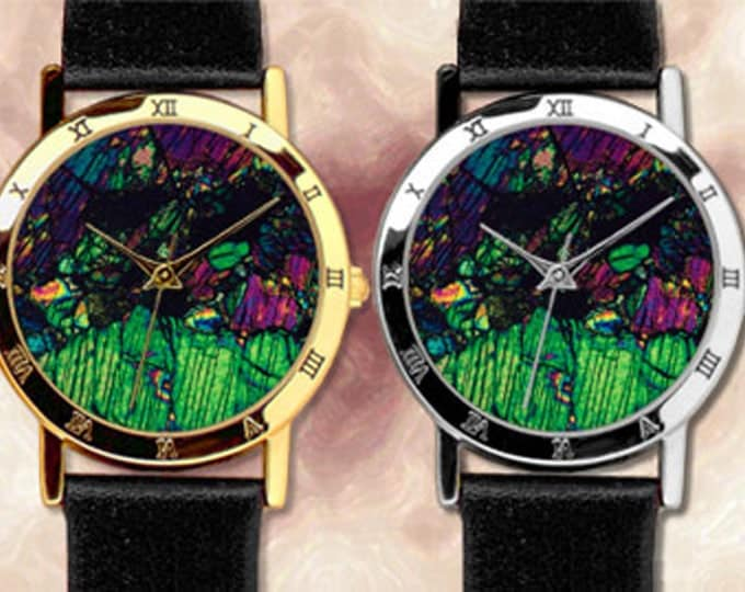 Custom watch with Mineral Photography - Leather strap