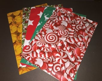 100 10x13 Designer CHRISTMAS and FALL Poly Mailers 20 Each Pumpkins Deer Hollyberry Stars Candy Canes Envelopes Shipping Bags Christmas