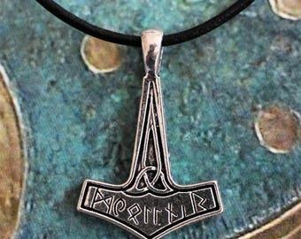 SALE 15% OFF Thor's Hammer Mjolnir Necklace, Viking Necklace, Viking Jewelry, Celtic Thor Hammer Pendant Strength Amulet Norse Mythology Asa