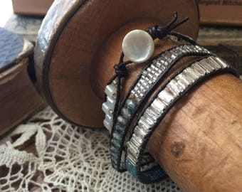 Leather and Glass bead wrap bracelet with bitton closure