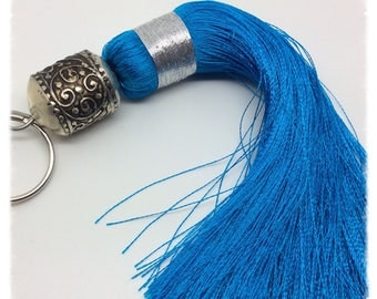 Moroccan Turquoise silk, large tassel model with metal bead
