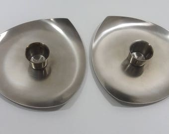 Retro a Pair of Price's  Brushed Stainless Steel Candle Holders,  Mid-Century Candle Holders, Romantic Modernist Table Candle Holders