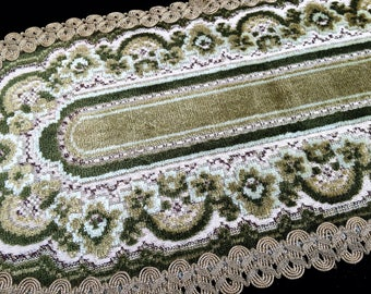 Large Vintage Oval Tapestry Doily Or Table Rug Made In West Germany